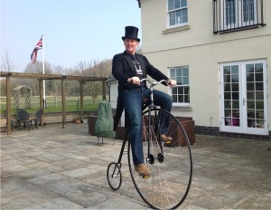Neil Laughton on a Penny Farthing
